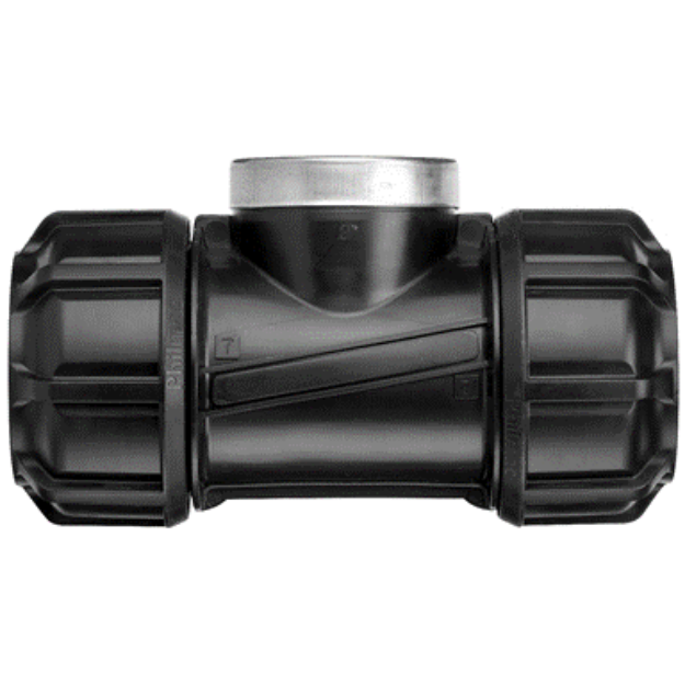 """Picture of Philmac 25mm x 1"""" Metric Poly Pipe Tee - With Female Outlet"""